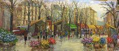 óleo sobre tela 1,30 x 0,60 - Mercado de Flores - Paris www.taniapaupitzartes.blogspot.com