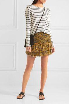 Étoile Isabel Marant - Brinley Smocked Printed Silk-georgette Mini Skirt - Yellow - FR