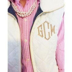 monogrammed J.Crew puffer vest