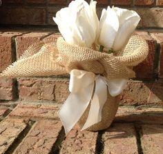 Burlap Mason Jar With Ribbon. Wedding Decoration. Burlap. Rustic Home Decor. Rustic Decor. Rustic Wedding. Shabby Chic. Vase. Center Piece. on Etsy, $6.50