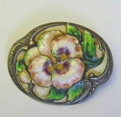 Victorian Enamel Sterling Pink Lavender Pansy Brooch