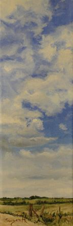 "Day 3 Palava Cloudscape 1 12""x4"" Acrylic on Gallery Wrapped Canvas $55.00"