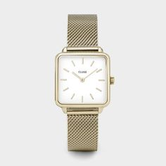 Buy Rose Gold/White CLUSE Women's La Garconne Square Mesh Bracelet Strap Watch from our Women's Watches range at John Lewis & Partners. Mesh Bracelet, Bracelet Cuir, Bracelet Watch, Style Androgyne, Clusia, Gold Chains For Men, Square Watch, Gold Watch, Watch Bands
