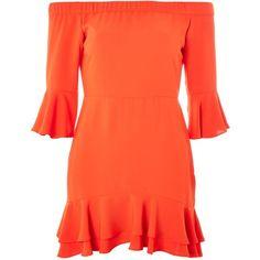 Topshop Petite Frill Bardot Mini Dress ($46) ❤ liked on Polyvore featuring dresses, red, mid calf dresses, midi dresses, orange maxi dresses, midi maxi dress and orange midi dress