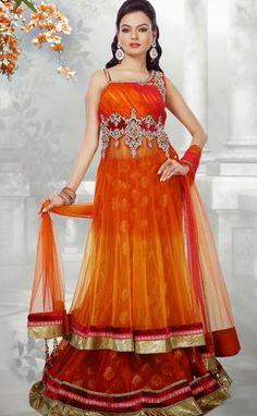 USD 347.04 Orange Zardosi Work Net Designer Party Wear Lehenga Choli 30194