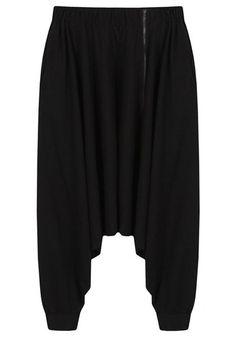 Élégant pantalon noir Zipperd lâche sarouel pour les femmes
