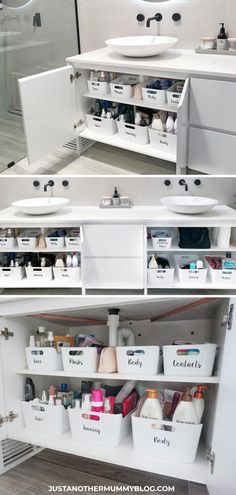 Here's how I organize my bathroom cupboard and under the sink! #organization #bathroom   justanothermummyblog.com Bad Inspiration, Bathroom Inspiration, Bathroom Cupboards, Restroom Cabinets, Diy Casa, Bathroom Organisation, Storage Organization, Organized Bathroom, How To Organize A Bathroom