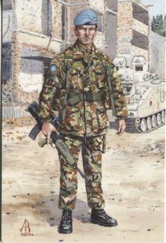 British soldier in Bosnia during the war. Alix Baker Postcard - AB29/2 Corporal Rainey MC, 2nd Battalion, The Royal Anglian Regiment, Bosnia 1994
