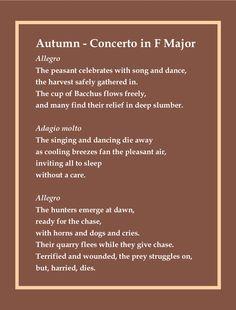 Poem accompaniment for Antonio Vivaldi's autumn section of The Four Seasons