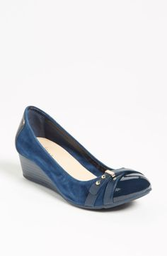 Blue suede and patent wedges