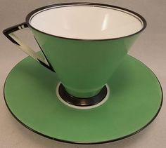 Rare vintage Shelley in pattern 11771. Colour is Jade/Lime Green & Black and the style of the cup is Eve. Circa 1930-31.
