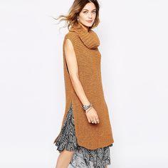 Resultado de imagen para suéter de mujer sin manga cuello tortuga tejido a dos agujas