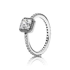 Square silver ring with clear cubic zirconia - 190947CZ - Rings | PANDORA