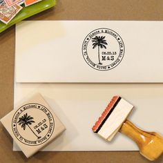 Palm Tree Address Stamp for Save the Dates & Wedding Invitations by Designkandy, $28.00