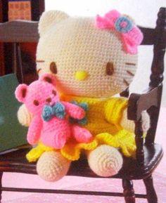 Hello Kitty in yellow dress with teddy bear #amigurumi for $5.99