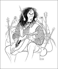 Al Hirschfeld's Portrait of Neil Young, Hand Signed by Al Hirschfeld, C of A, Limited Edition Neil Young, Music Drawings, Felder, Owl Art, Black And White Portraits, Limited Edition Prints, Great Artists, Illustrators, Character Design