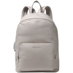 Michael Michael Kors Wythe Large Backpack ($224) ❤ liked on Polyvore featuring bags, backpacks, pearl grey, leather daypack, backpack bags, leather rucksack, gray leather bag and gray leather backpack