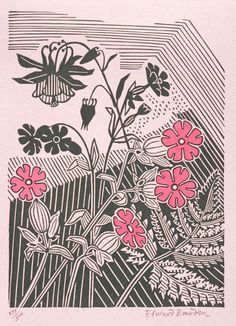 """Campions And Columbine"" by Edward Bawden, 1947 (linocut)"
