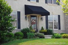 Front Door Canopy Designs   Sleek Black Porch Awnings