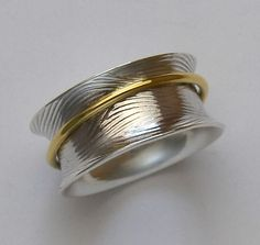 18K Gold Captured Band Sterling Spinning Ring Handmade by joykruse, $325.00
