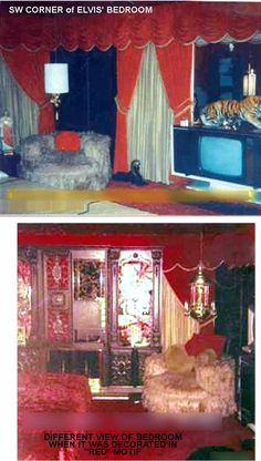 Elvis' bedroom at Graceland   this was the real color at the time Elvis was on Graceland ,  all red