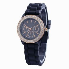 Black Silicone Band Round Jelly Crystal Face Women Lady Fashion Wrist Watch Watches Retailstore. $5.55