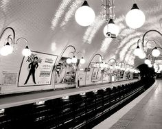 Paris Metro, Cite Paris Photography, French Wall Art Prints, Train Photo, Black and White on Etsy, $28.00
