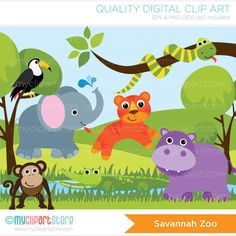 This SAVANNAH ZOO clipart set includes safari/savannah animals in the jungle, such as Tiger, Hippo, Monkey, Elephant, Snake in a tree, Tukan bird,