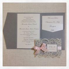 Rustic Wedding Invitation - Grey & pink wedding invitation with lace cuff - sample invitation