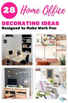Smart Home Office Decorating Ideas to make work fun. From funky clocks to custom desks there are designs here for every work space. Home Office Design, Home Office Decor, Diy Home Decor, Office Ideas, Custom Desk, Do It Yourself Furniture, Home Desk, Home Office Organization, Fun At Work