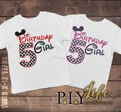 Child T-Shirt  Mouse Ears Birthday Girl Toddler or by ThePIYLife