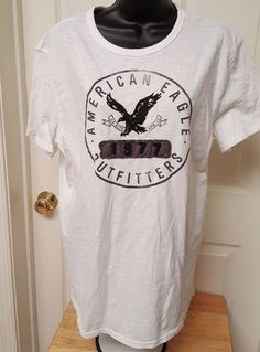 American Eagle Outfitters Men's White/Black Logo Athletic Fit T-Shirt Size L #AmericanEagleOutfitters #GraphicTee