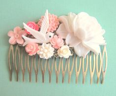 Jewelsalem -- Pink and Mint Green Wedding, Bridal Hair Comb Pink Wedding Bride Floral Flower Blush Tea Rose White Bird French Ivory Soft Cream Romantic Bridesmaid Gift Maid of Honor