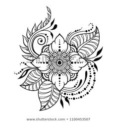 Mehndi flower pattern for Henna drawing and tattoo. Decoration in ethnic oriental, Indian style. Mandala Art, Mandala Drawing, Mandala Design, Floral Mandala Tattoo, Henna Doodle, Henna Art, Doodle Art, Henna Drawings, Art Drawings