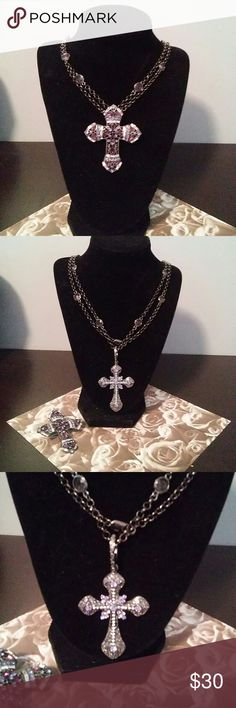 BEAUTIFUL CROS NECKLACE TWO FOR the price of one TWO crosses interchangeable on a 36 inch chain which can be doubled to wearshorter chain has Crystal stations very versatile Adrienne arpel Jewelry Necklaces