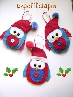 Whimsical Owl Christmas Tree Ornaments Bright by unpetitelapin, $14.00