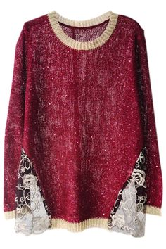 ROMWE   Sequined Panel Lace Hem Red Jumper, The Latest Street Fashion