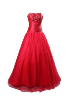 Winey Bridal Appliques Beading Red Tulle Ball Gown Wedding (all it needs are straps)   Price: $159.99