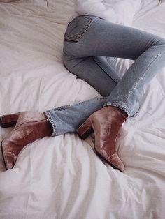 Jeans & Velvet Boots
