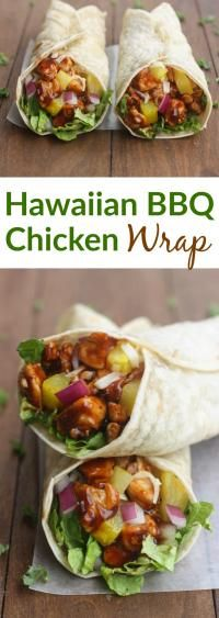 Hawaiian BBQ Chicken Wraps on MyRecipeMagic.com These Hawaiian BBQ Chicken Wraps are EASY, healthy and delicious.