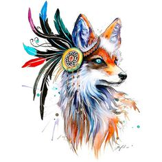 Cool Beautiful Girly Fox Tattoo Design
