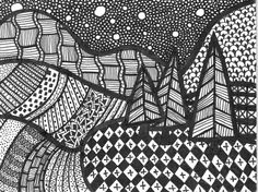 pine trees on the hill pen and ink drawing <3