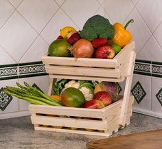2 tier Small Wooden Vegetable fruit food storage rack Angled: Amazon.co.uk…