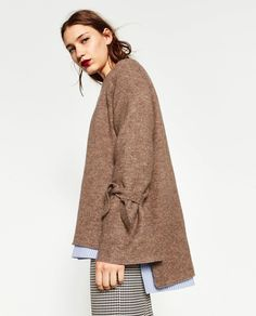 SWEATER WITH TIE DETAIL ON SLEEVE-Sweaters-KNITWEAR-WOMAN | ZARA United States
