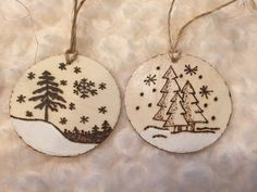 Wood Burned Christmas Ornaments-BABY'S First by AntonWoodworks