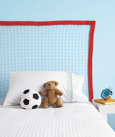 Soccer Net as Headboard Use Velcro to hang the net on the wall behind the bed to create an easy, sporty headboard. (The netting should be at least 39 inches wide for a twin bed or 54 inches for a full.) It's decor that can change as fast as his sideline sprints.