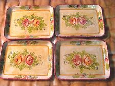 4 Miniature Vintage Shabby French Country HP Roses Paper Mache Tole Trays  Japan