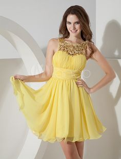 A-line Daffodil Chiffon Sequin Sleeveless Homecoming Dress - Milanoo.com