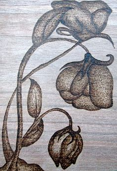 flower woodburning