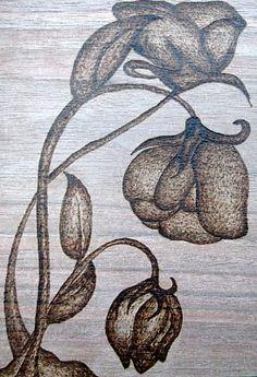 flower woodburning